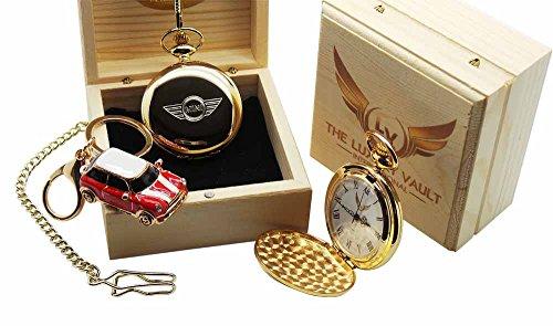 tlv-mini-cooper-s-gold-taschenuhr-mit-motiv-mini-emblem-und-schlusselanhanger-mit-motiv-mini-cooper-