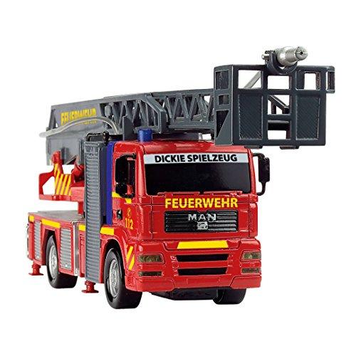 Dickie Toys 203715001 – City Fire Engine, Feuerwehrauto mit manueller Wasserspritze, 31 cm - 6