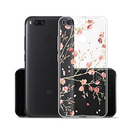 Hülle für Xiaomi Mi 5X / Xiaomi Mi A1 ,JIENI Transparent Rosa Plum Blume TPU Weich Silikon Handyhülle Schutzhülle Stoßkasten Case Bumper Slimcase Etui Tasche für Xiaomi Mi 5X / Xiaomi Mi A1 (5.5