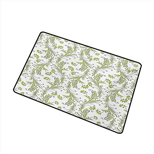 Kinhevao Blume Universal Fußmatte Paisley Leaf Antique Stem Swirl traditionelle Damastmode stilisieren Flora Fußmatte Bodendekoration, grün schwarz weiß Badematte - Flora Swirl