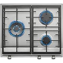 Teka EX 60 1 3G AI AL DR NAT Integrado Gas Acero inoxidable - Placa (Integrado, Gas hob, Acero inoxidable, hierro fundido, Sin marco, Metano)