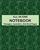 ALL-IN-ONE NOTEBOOK - Hexagon, Isometric, Dot Grid Pages: 4 Types Of Designing Paper In One Book - See The Back Cover For Samples - Deep Green Marble