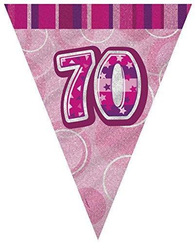 s Wimpelkette für den 70. Geburtstag, aus Folie, Glitter, 2,74 m lang ()