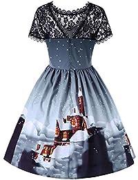 899b96d14cd1c1 Rockabilly Kleider Damen Kurzarm Weihnachten Print Retro Kleid Maxikleider  Blumenkleid Drucken Strandkleid Vintage Kleid A-
