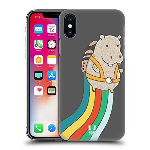 Head Case Designs Panda Animali Con Il Jetpack Cover Retro Rigida per Apple iPhone X Ippopotamo