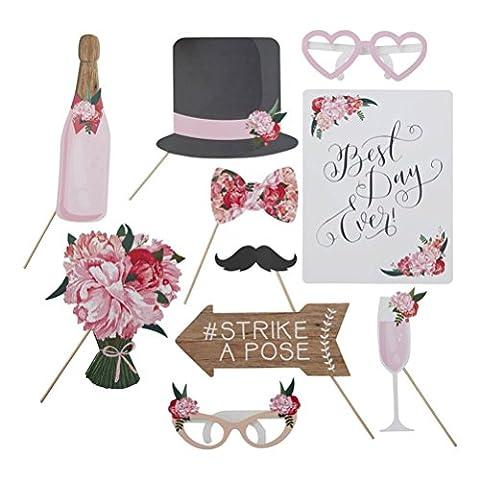 Tinksky Photo Booth Props Kit de bricolage Accessoires pour fête de mariage Graduation Anniversaire bachelorette party Dress-up Accessoires avec moustache Chapeaux Lunettes Heart on Sticks 9-pack