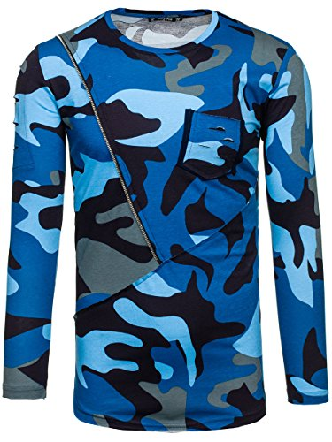 BOLF – Fepla – Sweat-shirt – Pullover – Print – Motivo – ATHLETIC 1090 Blu scuro