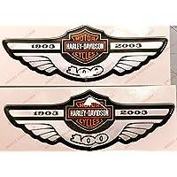 Adesivi Compulsivi - Adhesivos resinados con el emblema/logotipo de Harley Davidson - Logotipo clásico con calavera - Juego de pegatinas resinadas con efecto 3DPara tanque o casco.