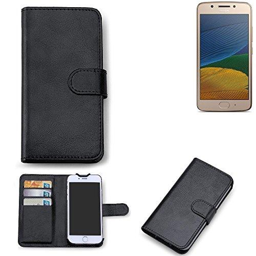 K-S-Trade 360° Wallet Case Lenovo Moto G5 Single-SIM Schutz Hülle Smartphone Flip Cover Flipstyle Tasche Schutzhülle Flipcover Slim Bookstyle Walletcase schwarz, 1x