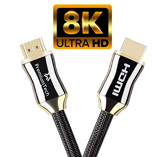 PremiumTech - Cable HDMI 2.1 Soporta Hasta 10K, 8K 60Hz y 4K 120Hz - Ultra High Speed 48GB/s - Dolby Vision Atmos - eARC - HDR10+ (1m)