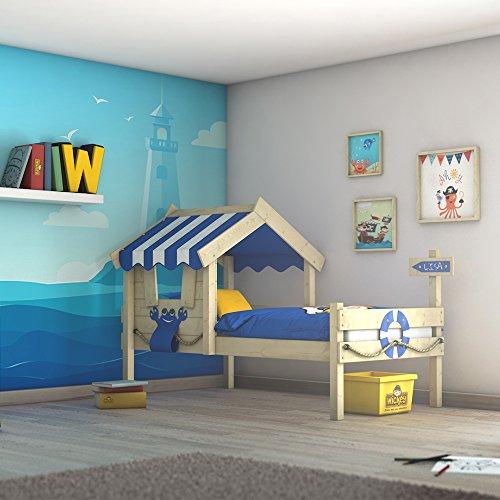 *WICKEY Kinderbett CrAzY Sharky Einzelbett 90x200cm Abenteuerbett mit Lattenboden, blau*