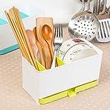 Rosepoem Küchengeräte Halter Kompakter Utensilienhalter Geeignet für Paare Besteckkorb für Messer, Gabeln, Löffel - Grün - 21 * 10.7 * 10.7cm
