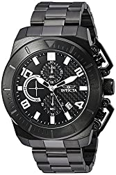 Invicta Mens Pro Diver Quartz Stainless Steel Casual Watch, Color:Black (Model: 23409)