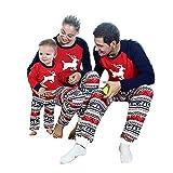Riou Weihnachten Set Baby Kleidung Pullover Pyjama Outfits Set Familie Kinder Baby Boy Deer T Shirt Hosen Familie Pyjamas Nachtwäsche Weihnachten Outfits Set (L, Mom)