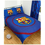 Barcelona FC Bullseye Reversible Duvet Cover Set, Blue/Scarlet, Double by Forever Collectibles