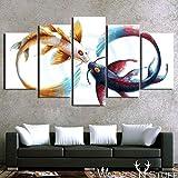 QJXX Leinwanddrucke 5 Stücke Kunstwerk Koi Fisch Yin Yang Awesome Malerei In Weißem Hintergrund Bild Kunstdruck Wand Home Office Dekoration,B,40X60x2+40X80x2+40X100x1