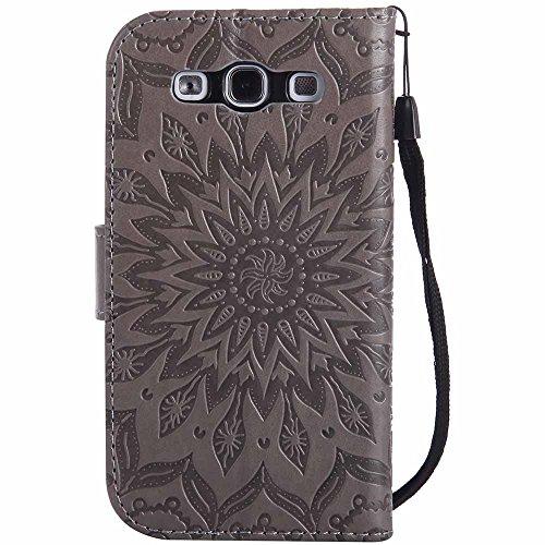 Dfly Galaxy S3 Hülle, Galaxy S3 Neo Hülle, Premium Slim PU Leder Mandala Blume prägung Muster Flip Hülle Bookstyle Stand Slot Schutzhülle Tasche Wallet Case für Samsung Galaxy S3 / S3 Neo, Grau