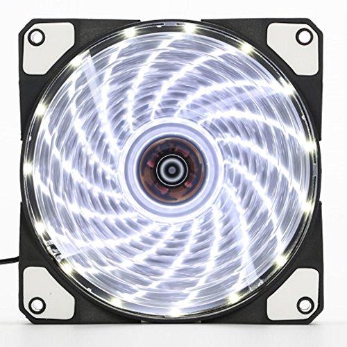 GEZICHTA 2 Stück LED leiser Ventilator 80 mm Kühlt PC und beleuchtet Computergehäuse, 15 LEDs mit coolem Look, ultra leiser hoher Luftstrom, Weißes Licht (Silent Licht)