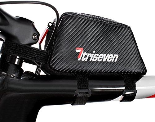 TRISEVEN Carbon Radfahren Rahmen Tasche Aero 20*Fernstraße Triathlon Tasche* MTB Tasche*Oberrohrtasche*Fahrrad Zubehör*6 Gele,Smartphone,Brieftasche*4 Straps oder 2 Schrauben*Kopfhörer Loch* (schwarz) (Mtb Fahrrad-rahmen)