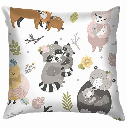 Forest Animals Bear Wildlife Pillow Case Throw Pillow Cover Square Cushion Cover 18X18 Inch ()