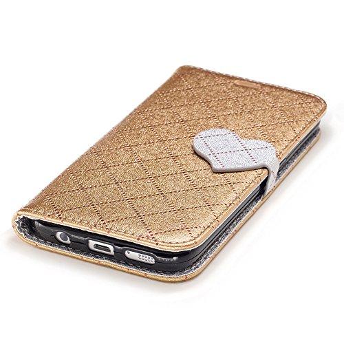 KM-WEN® Schutzhülle für Apple iPhone 7 Plus (5,5 Zoll) Bookstyle Streifen Muster Liebes Herz Ledertasche mit Strap Magnetverschluss PU Leder Wallet Case Flip Cover Hülle Tasche Schutzhülle mit Standfu Gold