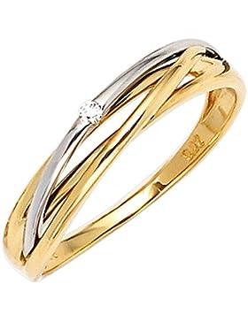 Dreambase Damen-Ring Gelbgold mit Weißgold kombiniert 14 Karat (585) Weißgold 1 Diamant 0.02 ct.