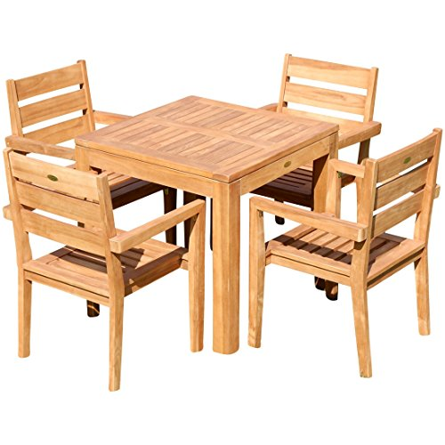 ASS Teak Set: Gartengarnitur Balkonset Gartenset Bigfoot Tisch 80x80 + 4 Kingston Sessel Serie JAV...