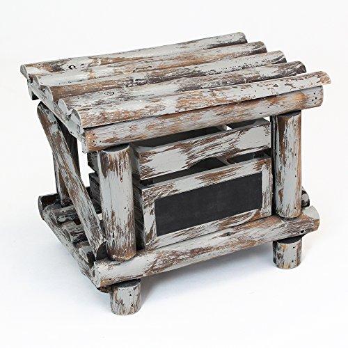 Meuble look Jungle, bois de peuplier teinté en gris, tiroir amovible, pour écriture à la craie