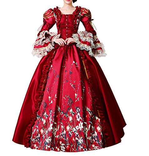 (Nuoqi Damen Kleid Mittelalterliche Viktorianisches mit Underskirt Palace Royal Masquerade Prom Kostüm (38, CC3035S-NI))