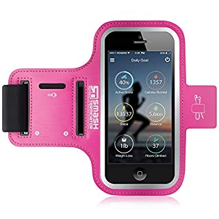 iPod Touch Running Armband | Smash Terminator Neoprene Sports Gym Arm band for iPod Touch 1st, 2nd, 4th, 5th, 6th & New 7th Generation. 8gb, 16gb, 32gb & 64gb with Key Holder and Reflective Strip (As Seen in Runners World Magazine - 5 Stars) inc. 18-Month Warranty (Bright Pink)