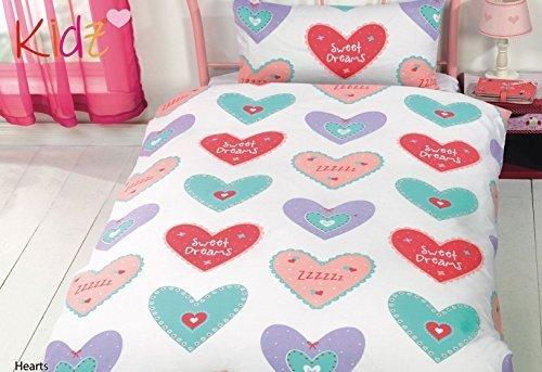 Hearts Süße Träume gepunktet Rosa Blau Rot Baumwollgemisch einzeln 5 Teile Bettwäsche Set -