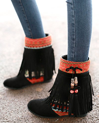 Minetom Donna Inverno Tassel Neve Stivali Snow Boots Stivali Cavaliere Antiscivolo Scarpe Nero