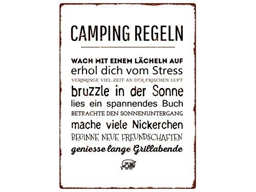 WANDSCHILD Metallschild CAMPING REGELN Urlaub Zelten Leidenschaft Campen Sommer