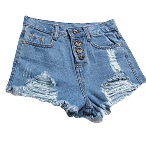 ZKOO Femmes Vintage D'Été Denim Taille Haute Jeans Trou Courtes Jeans Hot Shorts Bleu clair