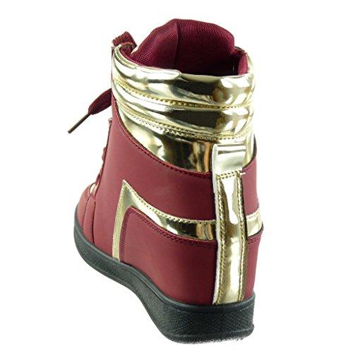 Angkorly Scarpe Da Donna Sneaker Con Zeppa - Alto - Zeppa Dorata Con Tacco 6 Cm Rosso