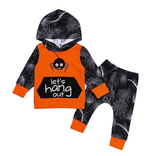 QinMM 2 Stücke Infant Baby Mädchen Jungen Spinne Hoodie Tops + Hosen Halloween Kleidung Set Kürbis Ghost Print Kleidung Set Orange für 6 Monate-24 Monate (18M, (Jungen Spinne Kostüme)