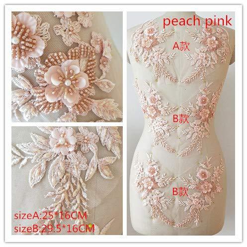 Handgefertigtes Blumenmuster mit 3D-Spitzen-Applikation, 3 Paar, ideal für DIY Dekoration, Nähen, Kostüm, Abenden, Braut-Top A6 peach pink