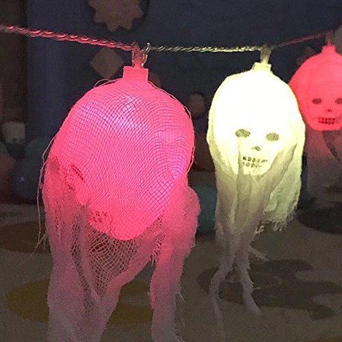Halloween Deko Licht, Morbuy 10 LED Schädel Lichterkette Gruselige Schädel LED Lampen Batteriebetrieben Beleuchtung Bunte Leuchten Deko Perfekt Für Halloween-Dekoration -