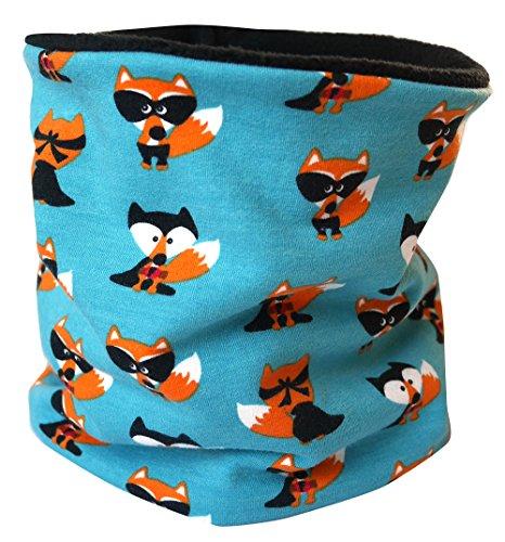 Wollhuhn Extra warmes Halstuch, Schal, blau mit Füchsen, außen Öko-Sweat, innen Fleece Jungen/Mädchen 20151125