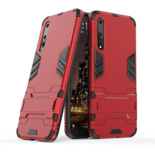 Huawei P20 Pro case,Stylish cover GOGME [Tough Armor Series]Rugged TPU/PC Hybrid Armor, Anti-Scratch PC back panel + Shockproof TPU bumper+Foldable holder,Ultra-thin phone shell for Huawei P20 Pro. red