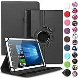 Nauci Tablet Hülle kompatibel für Odys ACE 10 Tasche Schutzhülle Case Universal Cover aus Kunst-Leder Standfunktion 360° Drehbar praktische Standfunktion, Farbe:Schwarz