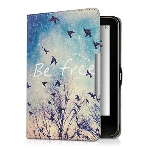 kwmobile Hülle für Tolino Vision 1 / 2 / 3 / 4 HD - Flipcover Case eReader Schutzhülle - Bookstyle Klapphülle Be free Design Schwarz Blau Weiß