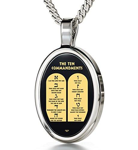 Glaubensamulett an 925 Silber Kette - 10 heilige Gebote in 24k (999) Gold auf oval geschliffenen Onyx geprägt - religiöse Geschenkidee für christliche Feiertage