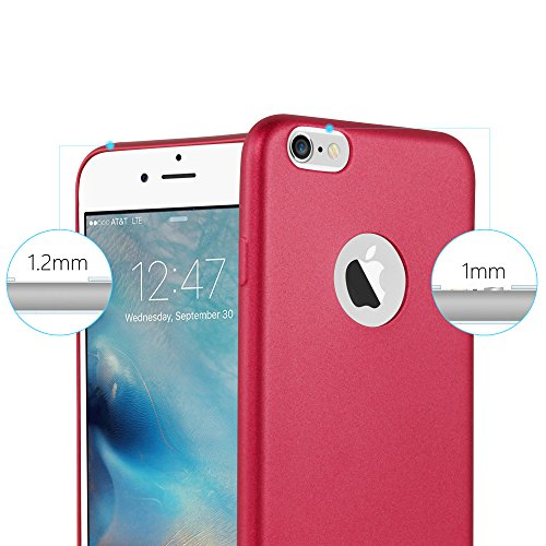 Cadorabo - >            Apple iPhone 6 PLUS / 6S PLUS            < TPU Ultra Slim matte Metallic Silikon Hülle - Case Cover Schutz-Hülle in METALLIC-ROT METALLIC-ROT