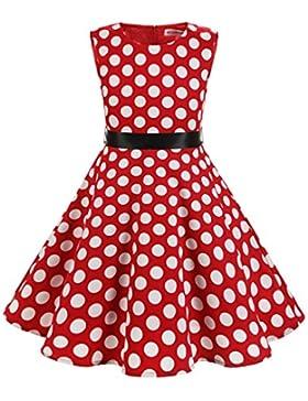MUADRESS Mädchen Kleid Vintage Kinder Braumwolle 50 Jahre Blumenmädchenkleider