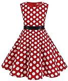 MUADRESS MUA6003 Mädchen Vintage Kleid Babykleider Polka Festlich 50er Kleid Rot Große Weiß Punkte S