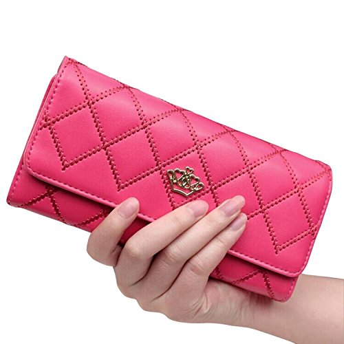 Lsv-8 Damen Geldbörse Mädchen Lang Geldbeutel Geldklammern Portemonnaie Brieftasche Stilvoll Elegant Krone PU Leder (Hot Pink) Lady Hot Pink Leder