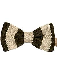 Noeud Papillon Tricoté Kaki avec une bande beige pour mariage, travail ou tout autre événement