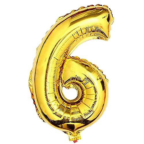 Glanzzeit 80cm Golden Luftballons Buchstaben A zu Z Zahlen 0 zu 9 Geburtstag Jubiläum Hochzeit Babyparty Deko Ballons (Zahl 6)