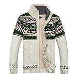 GWELL Herren Strickjacke mit Fleece Jacquard Verdickte Sweater Cardigan Strickpullover mit Reißverschluss Stehkragen Weiß L